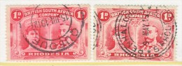 BR. SOUTH  AFRICA CO    102 X 2  # 12    (o)   TOWN  CANCELS - Southern Rhodesia (...-1964)