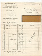 Relevé De Factures , Ets DAVID & MAIGRET , Paris , 1931 , Frais Fr : 1.30€ , Document Sup : 0.50€ - France