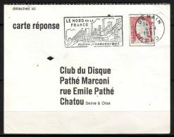 """Secap De DENAIN Nord Sur Carte Reponse """" Club Du Disque PATHE MARCONI """"   Le 4 9 1961 - Mechanical Postmarks (Advertisement)"""
