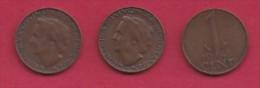 NEDERLAND, 1948, 3 Coins Of 1 Cent, Queen Wilhelmina, Bronze, C2746 - [ 3] 1815-… : Kingdom Of The Netherlands