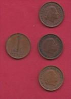NEDERLAND, 1963, 4 Coins Of 1 Cent, Queen Juliana, Bronze, C2761 - [ 3] 1815-… : Kingdom Of The Netherlands