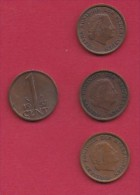 NEDERLAND, 1957, 4 Coins Of 1 Cent, Queen Juliana, Bronze, C2755 - [ 3] 1815-… : Kingdom Of The Netherlands