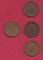 NEDERLAND, 1958, 4 Coins Of 1 Cent, Queen Juliana, Bronze, C2756 - [ 3] 1815-… : Kingdom Of The Netherlands