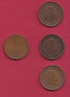 NEDERLAND, 1959, 4 Coins Of 1 Cent, Queen Juliana, Bronze, C2757 - [ 3] 1815-… : Kingdom Of The Netherlands