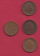 NEDERLAND, 1960, 4 Coins Of 1 Cent, Queen Juliana, Bronze, C2758 - [ 3] 1815-… : Kingdom Of The Netherlands