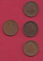 NEDERLAND, 1962, 4 Coins Of 1 Cent, Queen Juliana, Bronze, C2760 - [ 3] 1815-… : Kingdom Of The Netherlands