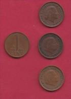 NEDERLAND, 1964, 4 Coins Of 1 Cent, Queen Juliana, Bronze, C2762 - [ 3] 1815-… : Kingdom Of The Netherlands