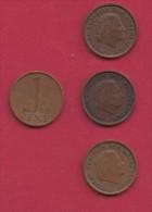 NEDERLAND, 1965, 4 Coins Of 1 Cent, Queen Juliana, Bronze, C2763 - [ 3] 1815-… : Kingdom Of The Netherlands