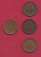NEDERLAND, 1968, 4 Coins Of 1 Cent, Queen Juliana, Bronze, C2766 - [ 3] 1815-… : Kingdom Of The Netherlands