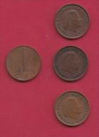 NEDERLAND, 1969, 4 Coins Of 1 Cent, Queen Juliana, Bronze, C2767 - [ 3] 1815-… : Kingdom Of The Netherlands