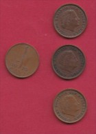NEDERLAND, 1970, 4 Coins Of 1 Cent, Queen Juliana, Bronze, C2768 - [ 3] 1815-… : Kingdom Of The Netherlands