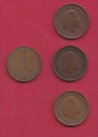 NEDERLAND, 1971, 4 Coins Of 1 Cent, Queen Juliana, Bronze, C2769 - [ 3] 1815-… : Kingdom Of The Netherlands