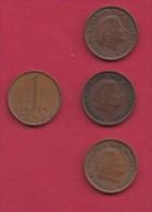 NEDERLAND, 1973, 4 Coins Of 1 Cent, Queen Juliana, Bronze, C2771 - [ 3] 1815-… : Kingdom Of The Netherlands