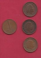 NEDERLAND, 1974, 4 Coins Of 1 Cent, Queen Juliana, Bronze, C2772 - [ 3] 1815-… : Kingdom Of The Netherlands