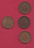 NEDERLAND, 1975, 4 Coins Of 1 Cent, Queen Juliana, Bronze, C2773 - [ 3] 1815-… : Kingdom Of The Netherlands