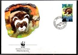LIECHTENSTEIN  FDC  WWF  Panda  Putois Poisson - Francobolli