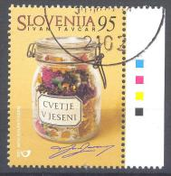Slovenia Slovenie Slowenien 2001 Used Mi. 335: Prominent Slovenes - Ivan Tavcar, Flowers In Autumn, Literature;  Writer - Scrittori
