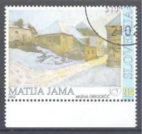 Slovenia Slovenie Slowenien 2002 Used CTO Mi. 410: Art Paintings Gemälde; Impressionisme Matija Jama - Village In Winter - Impressionismo