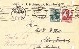 15678# ALLEMAGNE CARTE POSTALE AK Obl HAMBURG 25 6 1920 Nach ABO FINLANDE FINNLAND DEUTSCHLAND - Allemagne
