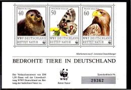 ALLEMAGNE  Bloc  Document  1er Jour    WWF  Panda  Phoque Papillon Aigle - Aigles & Rapaces Diurnes