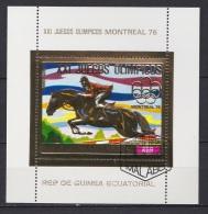 1 Bloc OR Oblitéré ( GOLD Stamps ) - Guinée Equatoriale - Jeux Olympiques Montréal 1976 Equitation Chevaux - Verano 1976: Montréal