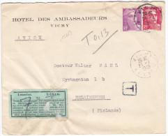 15684# GANDON VARIETE DE PIQUAGE LETTRE AVION ETIQUETTE DE TAXE LÖSEN Obl VICHY ALLIER 1949 HELSINGFORS FINLANDE FINLAND - Postmark Collection (Covers)