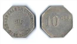 BELGIQUE - TIRLEMONT - JETON NECESSITE BAR. BRASSERIE DE LA COURONNE. 10 C. - Monedas / De Necesidad