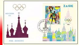 Zaire BL 041 FDC  Jeux Olympiques de Moscou Cote COB: 180 Euro ! SANS RESERVE !