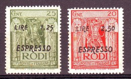EGEO OCCUPAZIONE TEDESCA  ESPRESSI 1943  S.42   NUOVO* 2 VALORI - Egée