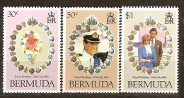 Bermuda 1981 Yvertn° 402-404***  MNH Cote 4,75 Euro Prince Charles Et Diana - Bermudes