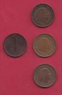 NEDERLAND, 1977, 4 Coins Of 1 Cent, Queen Juliana, Bronze, C2780 - [ 3] 1815-… : Kingdom Of The Netherlands