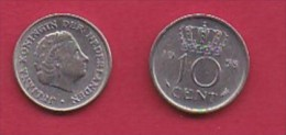 NEDERLAND, 1954, 2 Coins Of 10 Cent, Queen Juliana,   KM 182, C3052 - [ 3] 1815-… : Kingdom Of The Netherlands