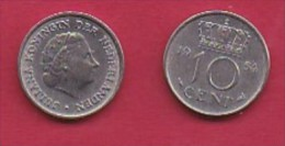 NEDERLAND, 1958, 2 Coins Of 10 Cent, Queen Juliana,   KM 182, C3053 - [ 3] 1815-… : Kingdom Of The Netherlands