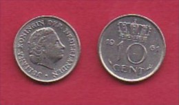 NEDERLAND, 1961, 2 Coins Of 10 Cent, Queen Juliana,   KM182, C3055 - [ 3] 1815-… : Kingdom Of The Netherlands