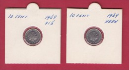 NEDERLAND, 1969, 2 Coins Of 10 Cent, Queen Juliana,  One Fish And One Cock,  C3065 - [ 3] 1815-… : Kingdom Of The Netherlands