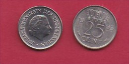 NEDERLAND, 1965, 1 Coin Of 25 Cent, Queen Juliana,   C3075 - [ 3] 1815-… : Kingdom Of The Netherlands