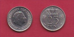 NEDERLAND, 1957, 1 Coin Of 25 Cent, Queen Juliana,   C3069 - [ 3] 1815-… : Kingdom Of The Netherlands
