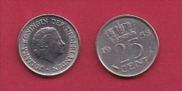 NEDERLAND, 1958, 1 Coin Of 25 Cent, Queen Juliana,   C3070 - [ 3] 1815-… : Kingdom Of The Netherlands