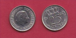 NEDERLAND, 1960, 1 Coin Of 25 Cent, Queen Juliana,   C3071 - [ 3] 1815-… : Kingdom Of The Netherlands