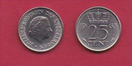 NEDERLAND, 1963, 1 Coin Of 25 Cent, Queen Juliana,   C3074 - [ 3] 1815-… : Kingdom Of The Netherlands