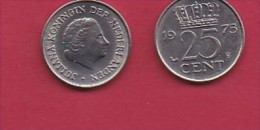 NEDERLAND, 1975, 1 Coin Of 25 Cent, Queen Juliana,   C3081 - [ 3] 1815-… : Kingdom Of The Netherlands