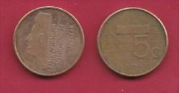 NEDERLAND, 1989, 1 Coin Of 5 Gulden, Queen Beatrix, Nickel, C2779 - [ 3] 1815-… : Kingdom Of The Netherlands