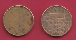 NEDERLAND, 1988, 1 Coin Of 5 Gulden, Queen Beatrix, Nickel, C2778 - [ 3] 1815-… : Kingdom Of The Netherlands