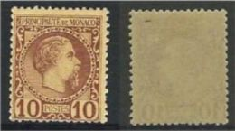 "Monaco YT 4 "" Prince Charles III 10c. Lilas-brun "" 1885 Neuf * - Neufs"