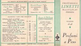 """02768 """"PROFUMERIA LINETTI - VENEZIA - PROFUMI A PESO"""" LISTINO PREZZI - Pubblicitari"""