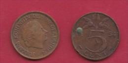 NEDERLAND, 1954, 2 Coins Of 5 Cent, Queen Juliana, Bronze, KM 181,  C3171 - [ 3] 1815-… : Kingdom Of The Netherlands