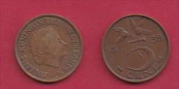 NEDERLAND, 1958, 2 Coins Of 5 Cent, Queen Juliana, Bronze, KM 181,  C3172 - [ 3] 1815-… : Kingdom Of The Netherlands