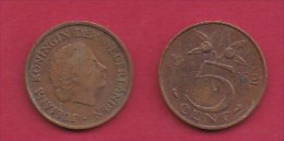 NEDERLAND, 1962, 2 Coins Of 5 Cent, Queen Juliana, Bronze, KM 181,  C3173 - [ 3] 1815-… : Kingdom Of The Netherlands