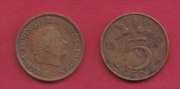 NEDERLAND, 1963, 2 Coins Of 5 Cent, Queen Juliana, Bronze, KM 181,  C3174 - [ 3] 1815-… : Kingdom Of The Netherlands