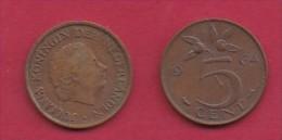 NEDERLAND, 1964, 2 Coins Of 5 Cent, Queen Juliana, Bronze, KM 181,  C3175 - [ 3] 1815-… : Kingdom Of The Netherlands
